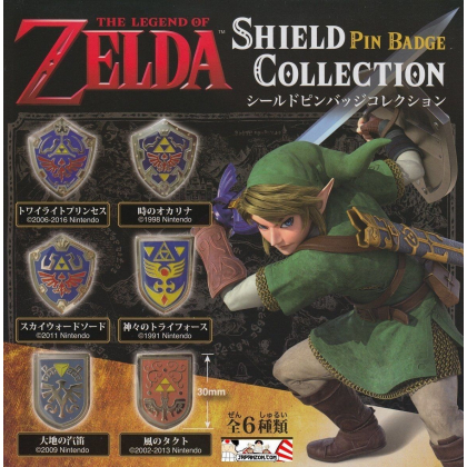 OFFICIAL NINTENDO ZELDA SHIELD PINS BADGE COLLECTION LIMITED 1991 VERSION