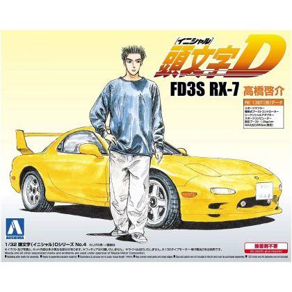AOSHIMA Initial D Series No.04 FD3S RX-7 Takahashi Keisuke 1/32 Model Kit