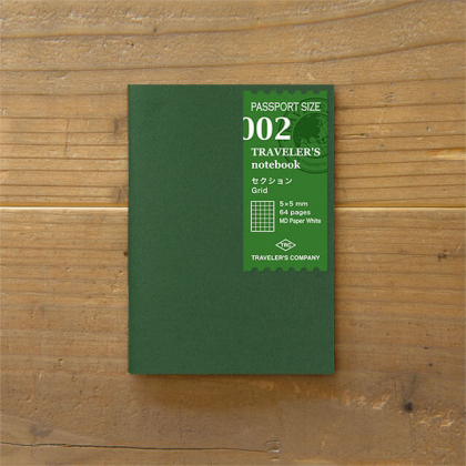 Travelers Notebook - Cahier Recharge 02 - Pages quadrillées 5mm - 14369006 Taille Passeport
